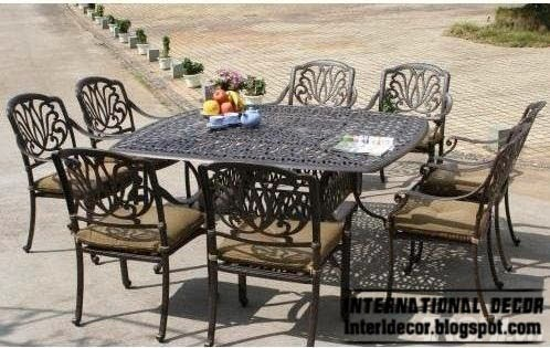 wrought iron outdoor dining furniture set, modern outdoor furniture
