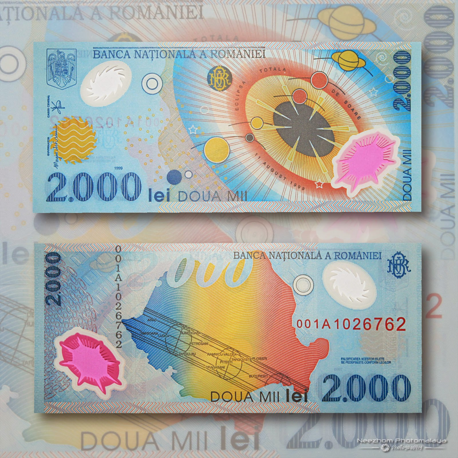 Polymer Banknote 2000 Lei Romania 1999