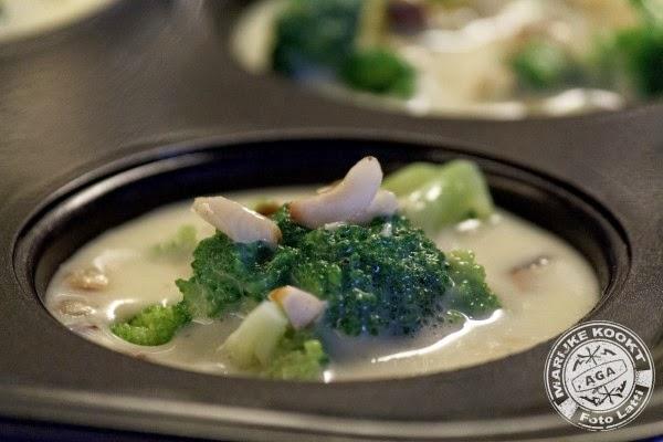 Flan van broccoli met nootjes