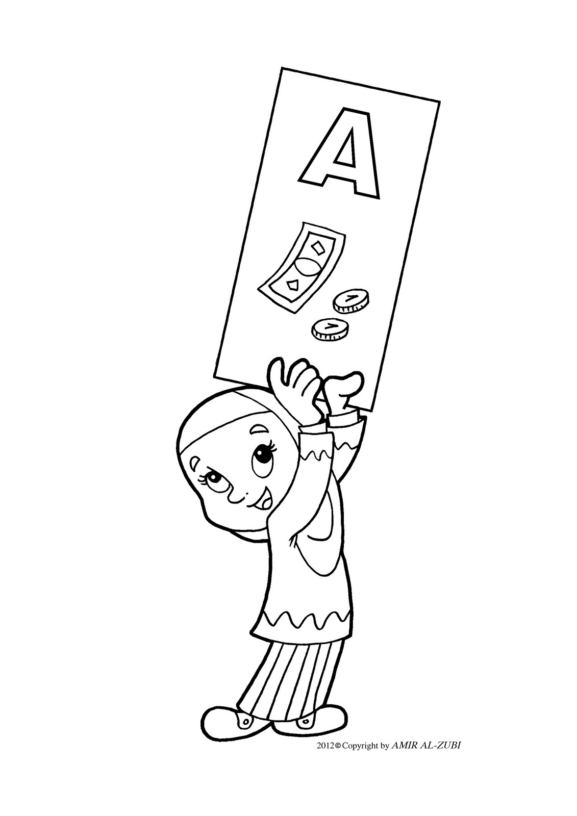 New Muslim Kids: A - Coloring Pages