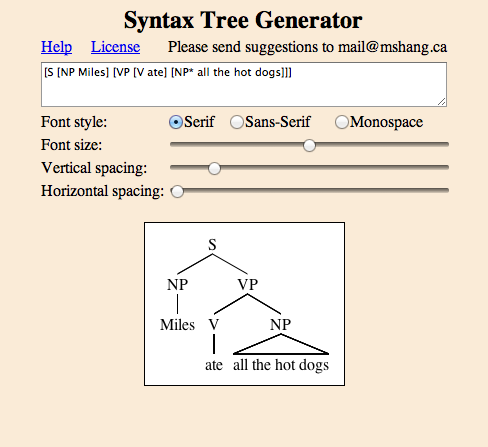 Sfalingblog spotlight on linguistic tools syntax tree generator initial screenshot of syntax tree generator ccuart Choice Image