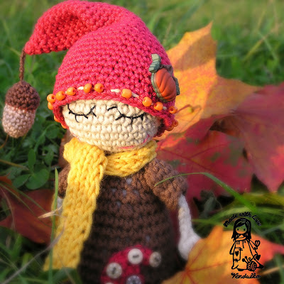 crochet, autumn, elf, toy, amigurumi, magic with hook and needles, vendula maderska design