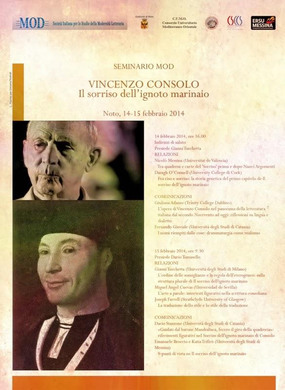 """SEMINARIO SU VINCENZO CONSOLO: """"IL SORRISO DELL'IGNOTO MARINAIO"""""""