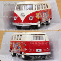 Miniatur VW Bus 1962 White Top Motif (Red-32K)