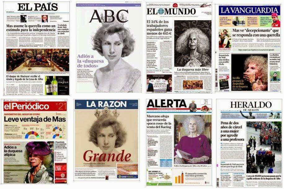 Portadas de la prensa española del 21 de noviembre de 2014
