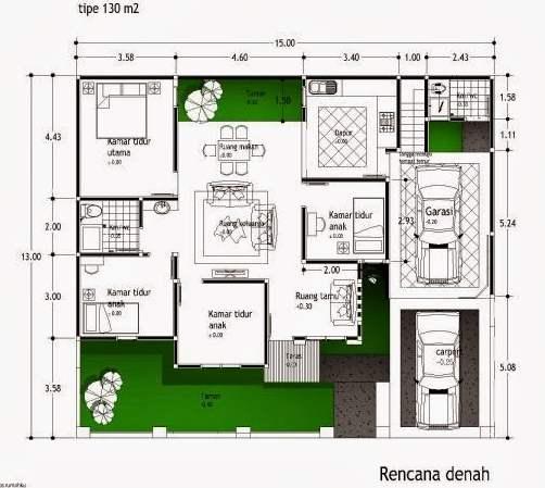 denah dan desain rumah minimalis type 54 model terbaru