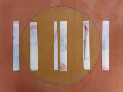 mixed media abstract painting earth tones with white and gold circles and lines