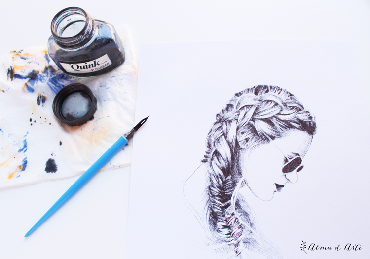 Dibujo artístico con tinta parket y plumilla