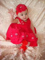 Baby Pictures With Red Dress & Cap Kids Images