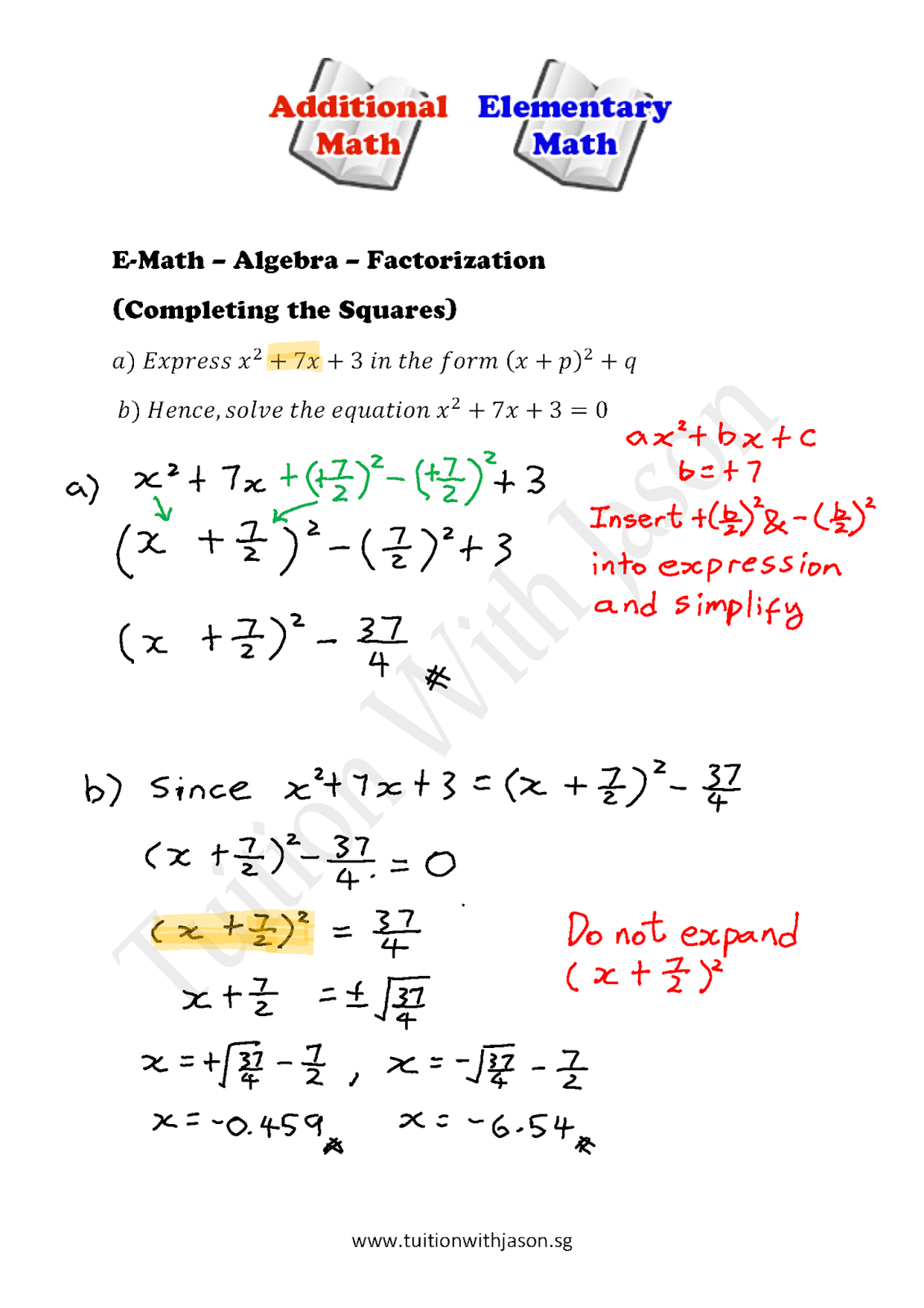 worksheet Factorization e math algebra factorization completing the squares squares