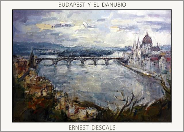 BUDAPEST-PINTURA-DANUBIO-PINTURAS-HUNGRIA-PAISAJES-MONUMENTOS-PARLAMENTO-PUENTES-ARTISTA-PINTOR-ERNEST DESCALS-