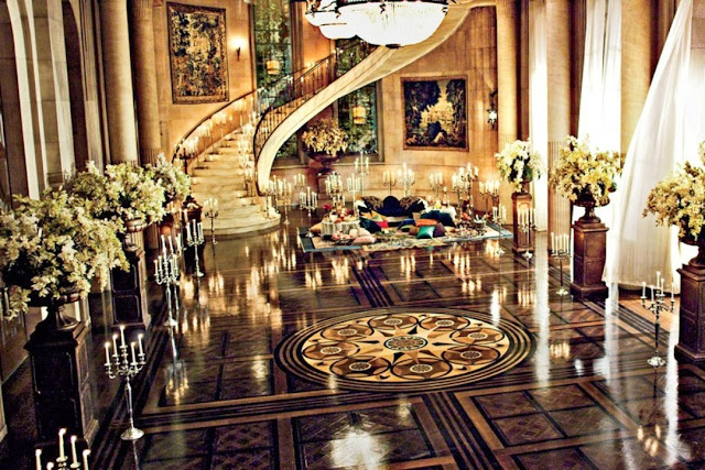 The Great Gatsby set design, art deco interiors