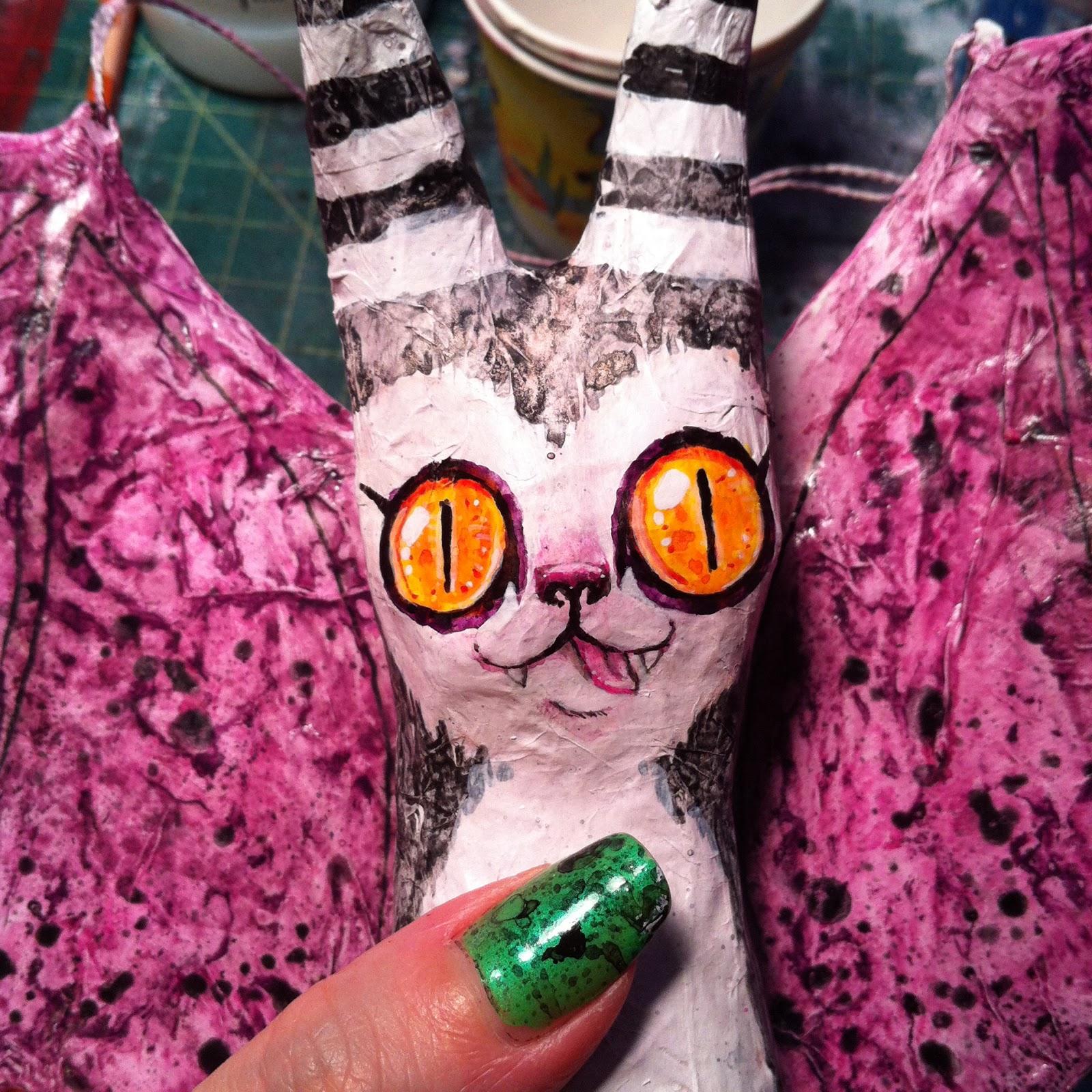 Papier Mache Bat face painting shot (blacklilypie.blogspot.com)