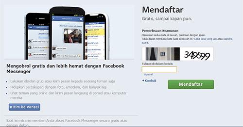 cara mudah mendaftar facebook dengan gambar