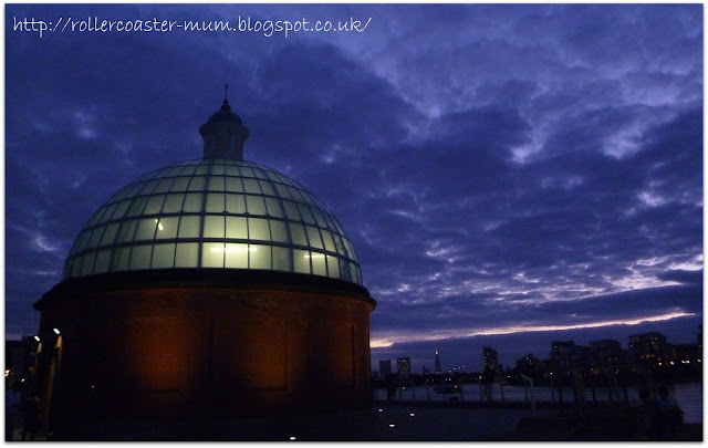 Glass domed entrance to Greenwich Foot Tunnel lit up
