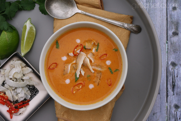Curried Pumpkin Coconut Soup #PumpkinCan by @girlichef