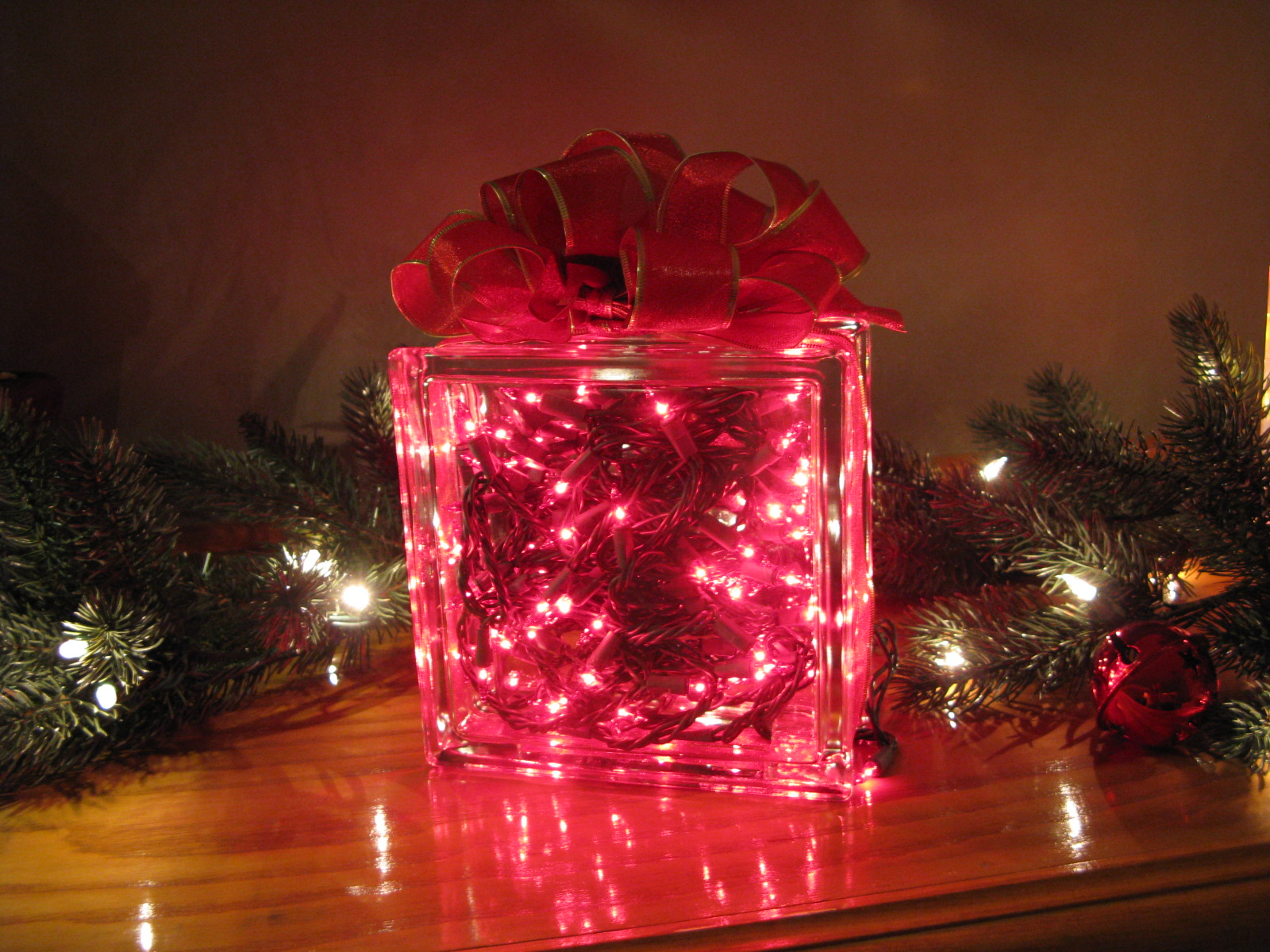 glass christmas lighted gift box