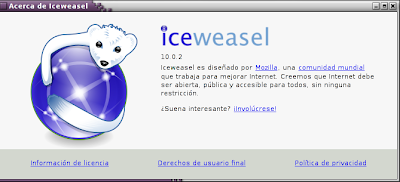 Imagen de Iceweasel 10.0.2 en Debian Squeeze