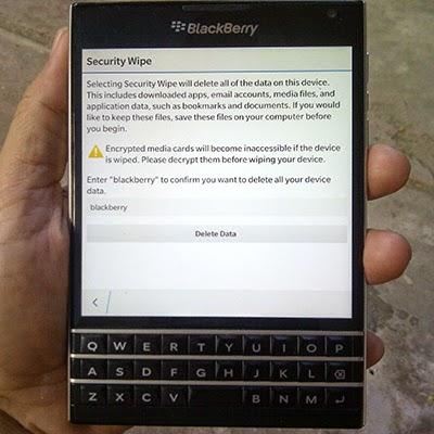 Security Wipe BlackBerry 10