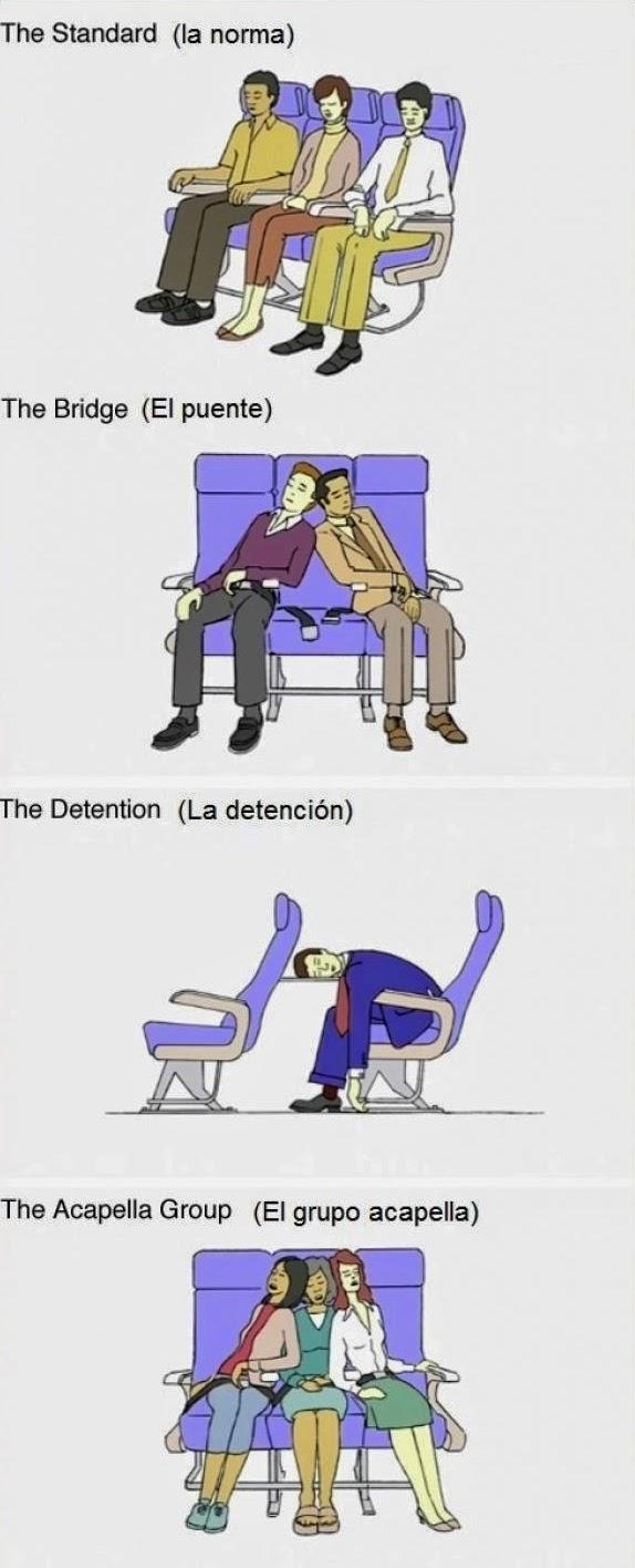 9 posturas para dormir en el avión