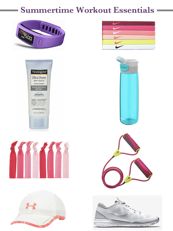 summertime workout essentials, workout wear, activewear, Nike training shoes, resistance band, Target, water bottle, Neutrogena sunscreen, Under Armour, hat, Under Armour hat, Garmin Vivofit, fitness watch