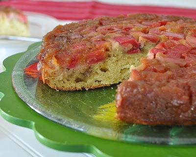 Rhubarb Upside-Down Cake, classic upside down cake, fresh rhubarb with a hint of anise | Weight Watchers PointsPlus 8 | KitchenParade.com