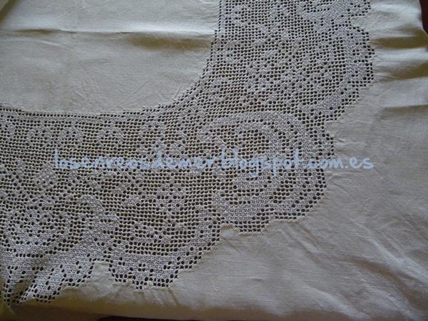 Detalle de mantel realizado con deshilado