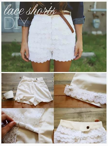 como customizar shorts com renda passo a passo