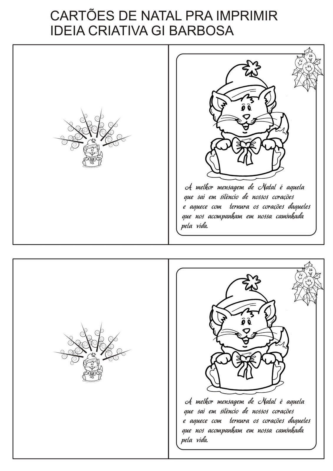 Preferência Cartões de Natal com Frase pra Colorir e Imprimir | Ideia Criativa  UE75