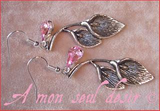 Boucles d'Oreilles fleur fleurs arum calla elfique féerique elven fairy flowers earrings