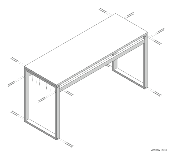 isometric projection of my standing height work bench