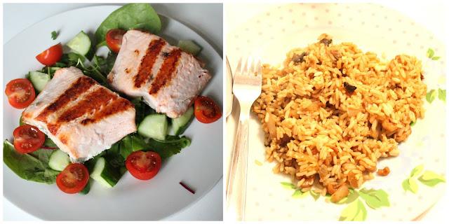 slimming world salmon salad and fried rice