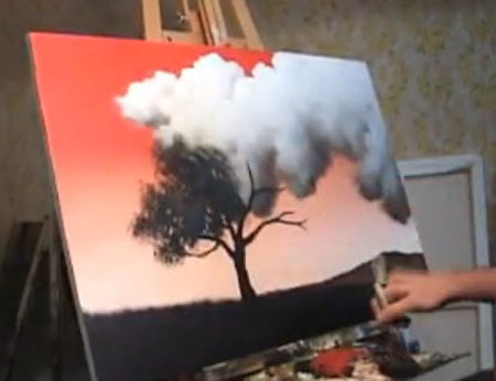 Time Lapse landscape painting Red Sky
