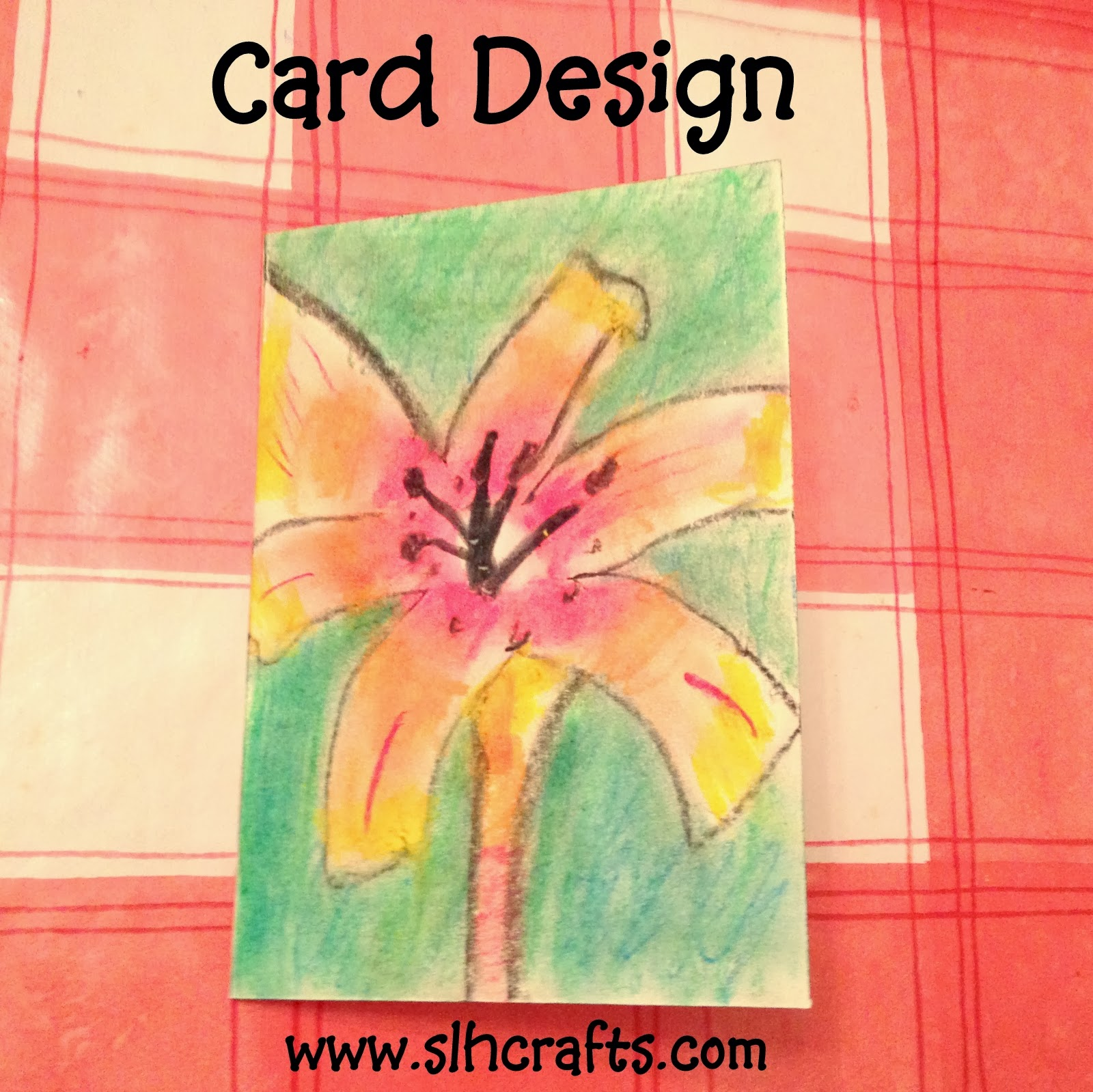 Card Design Henna Flower Oil pastels