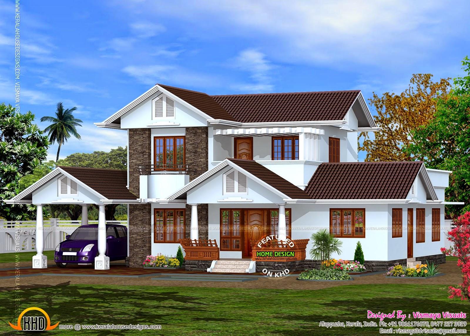 Kerala style villa in 2020 square feet kerala home for Villa plans in kerala style