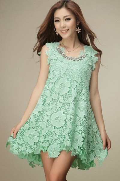 Mint Floral Lace Dress