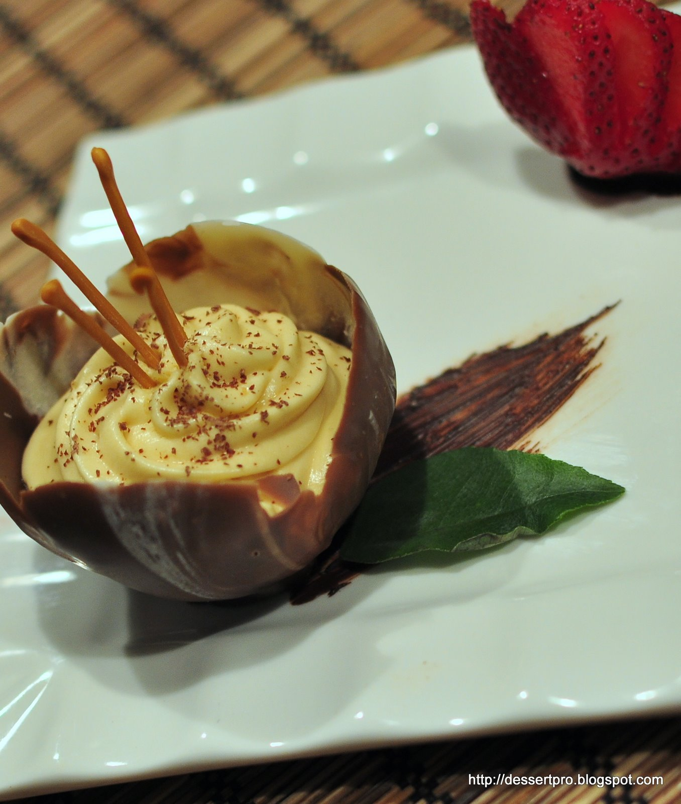 chocolate tulip cups and chocolate cups were satisfying!! Maple mousse ...