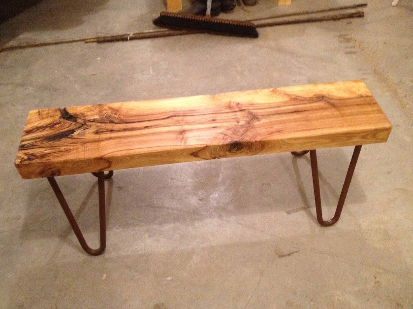Black Ash Bench And Homemade Hairpin Legs Thisoldtable