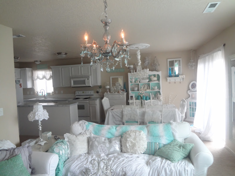 Not So Shabby Shabby Chic My New BlueGreen Crystal Chandelier – Shabby Chic Crystal Chandelier