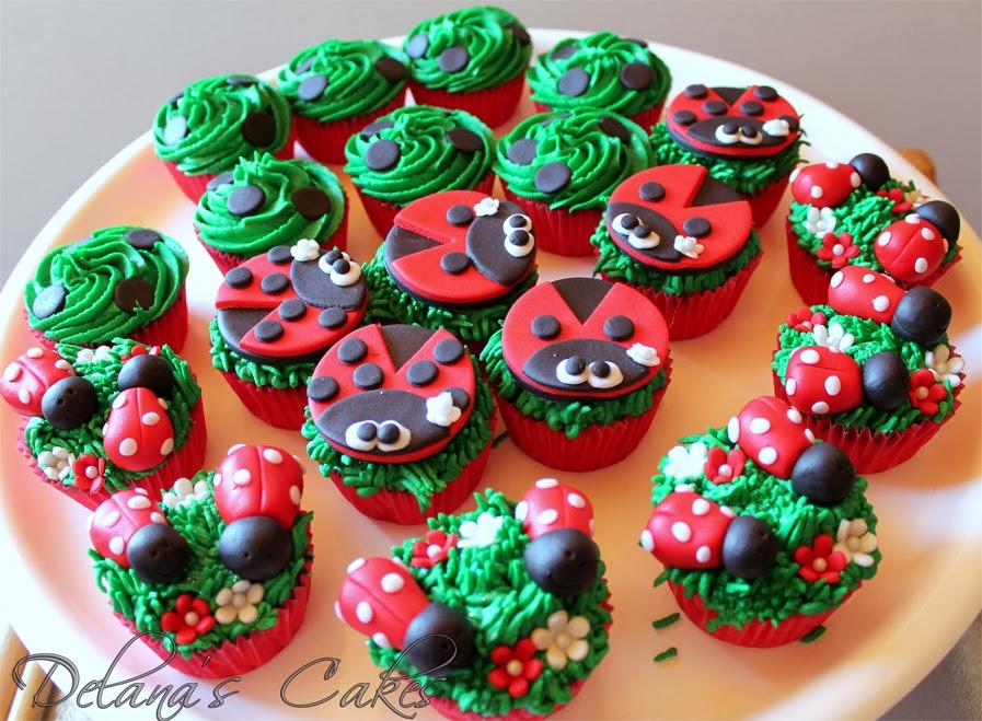Delanas Cakes Ladybug Cake And Cupcakes - Bug cupcake decorating ideas