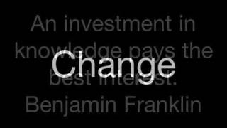 A quote by Benjamin Franklin that says An investment in knowledge pays the best interest