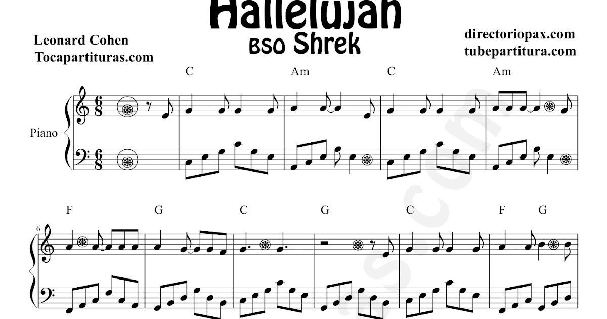 tubescore: Hallelujah by Leonard Cohen Sheet Music for