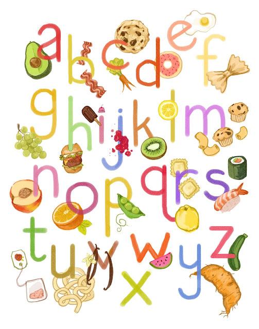 Kathryn selbert illustration alphabet food for Cuisine font