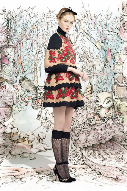 red valentino autumn winter 2013 2014 cream and floral mini dress slavic
