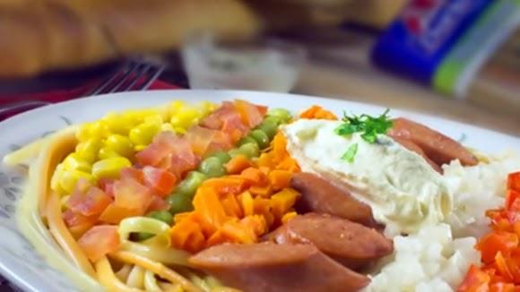 Ensalada Arcoiris Con Espaguetis Y Verduras
