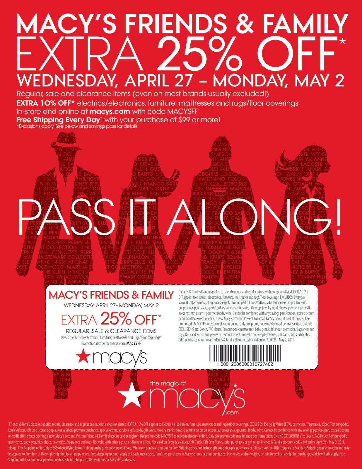 Macy's, originally R. H. Macy & Co., is a mid-range to upscale chain of department stores owned by American multinational corporation Macy's, Inc. It is one of two divisions owned by the company, with the other being the upscale Bloomingdale's.