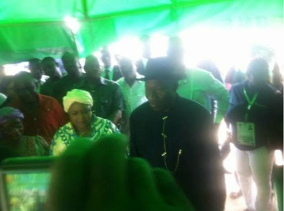 President Jonathan and wife at their polling unit in Bayelsa