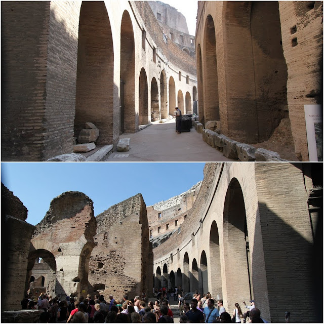 This is the 1st level seating is to accommodate audiences from poor statues, slaves and women who would stand or sit on wooden benches in the Roman Colosseum in Rome, Italy