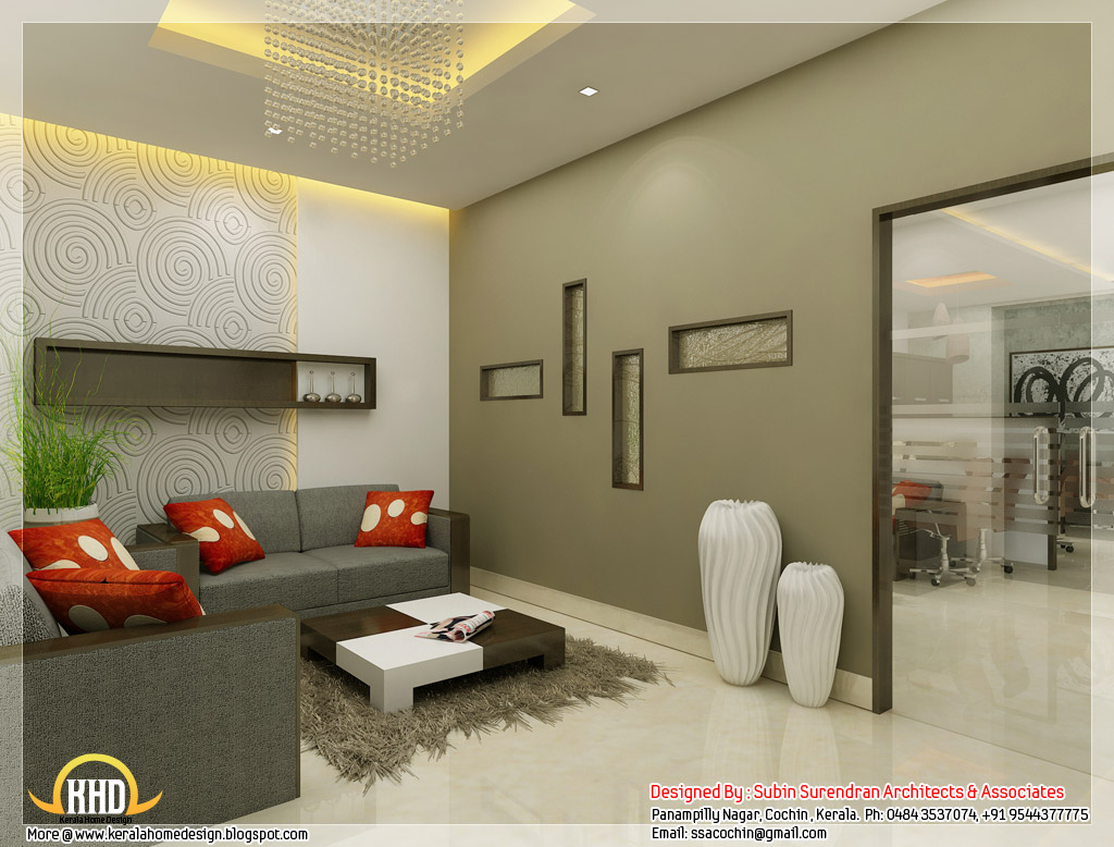 Beautiful 3d interior office designs kerala home design for Picture of interior designs of house