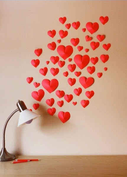 Easy Make a Wall of Paper Hearts